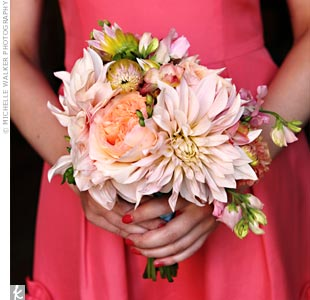 "Big and pretty ""dinner plate dahlias"" stole the show in the bridesmaid bouquets."
