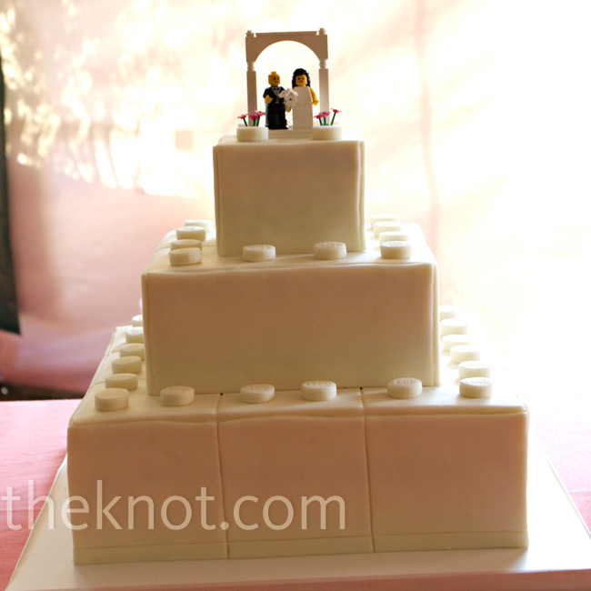 The groom's cake, designed to look like Lego blocks, stacked next to and atop each other, was a nod to Mike's childhood obsession.