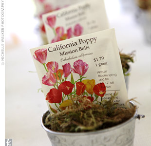 Guests took home packets of California poppy and wildflower seeds packaged into galvanized pails, which also served as escort cards.