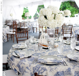 White and Blue Reception Decor