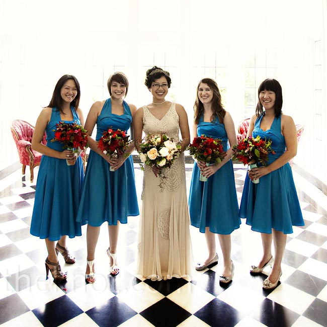 Meggy's four bridesmaids wore '40s-style halter dresses to match Meggy's Old Hollywood gown. The best part: They cost $40.