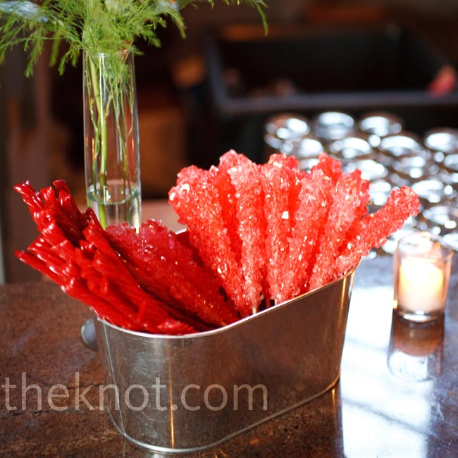 In keeping with the theme, red candies were set out during the cocktail hour.