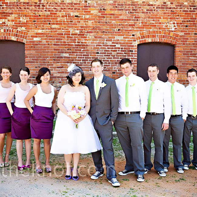 Hanh's maids wore purple pencil skirts and lilac tank tops. The guys sported Chuck Taylors and skinny lime green ties.