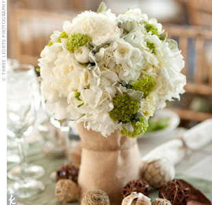 Cream and Green Centerpieces
