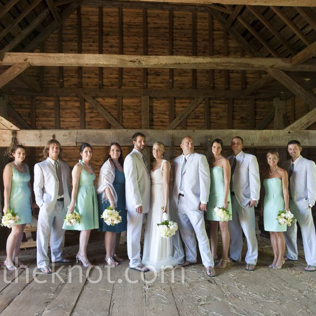 Laura loved the mint-blue bridesmaids' dresses so much, she ordered one for herself!