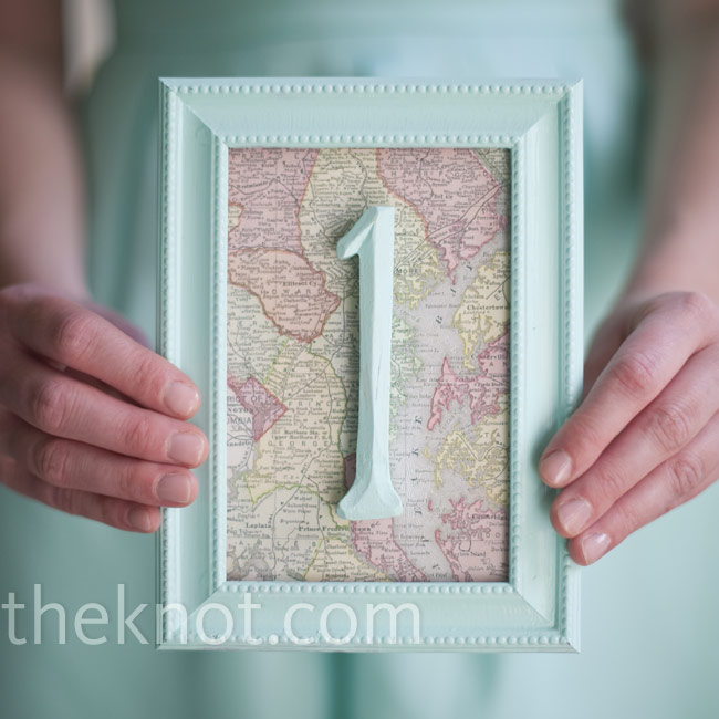 As a nod to Tom's career and their love of maps, Laura used framed antique maps of Baltimore and Maryland as table numbers.