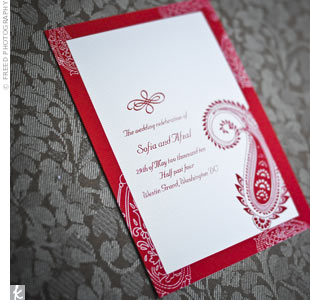 Red Paisley Invitations