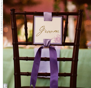 Purple Wedding Chair Sign