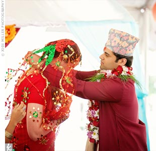 Staci and Srijak started their two-day celebration with a full Nepali, Hindu wedding under a mandap (a traditional wedding canopy).