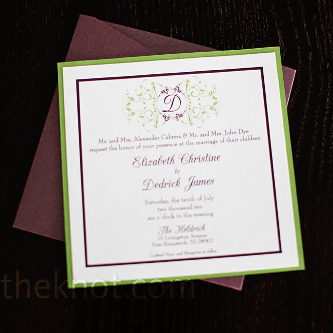 Elizabeth's brother works in graphic design and created the couple's invitations.
