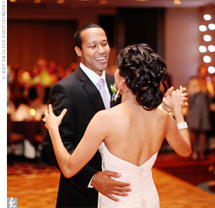 "A friend of Dedrick's was the wedding DJ and he kept the dance floor full the entire night. But before guests could take over, the couple had their first dance to ""Cheek to Cheek"" by Louis Armstrong and Ella Fitzgerald."