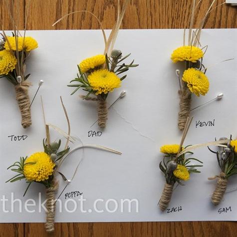 Yellow Mum Boutonnieres