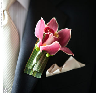 This single pink orchid stood out against Nitin's white shirt and tie.