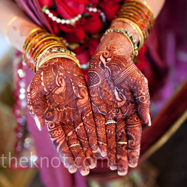 Elizabeth wore Indian henna art, which signifies joy and luck.