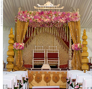 The ornate gold Mandap, under an all-white tent on Nitin's parents' oceanside estate, set the stage for the traditional ceremony.