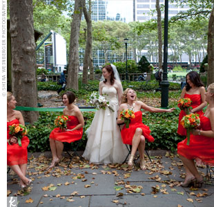 The deep orange bridesmaid dresses were the wedding's color inspiration.
