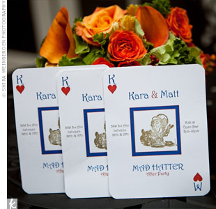 Following their daytime reception, the couple held an after-party at the Mad Hatter, hence the playing card invitations.