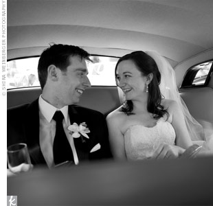 The couple rode in a classic black Rolls-Royce from the ceremony to the reception.