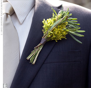 Arabian chincherinchee and rosemary accented the groomsmens dark suits.