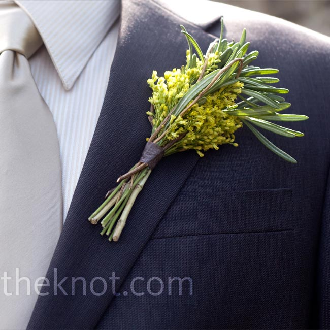 Arabian chincherinchee and rosemary accented the groomsmen's dark suits.