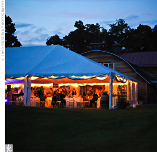 The evening included dinner and dancing under the outdoor tent, ending with a fireworks display over the hills.
