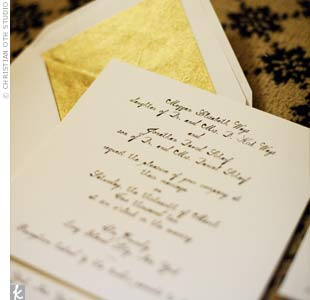 Calligraphed White Invitations