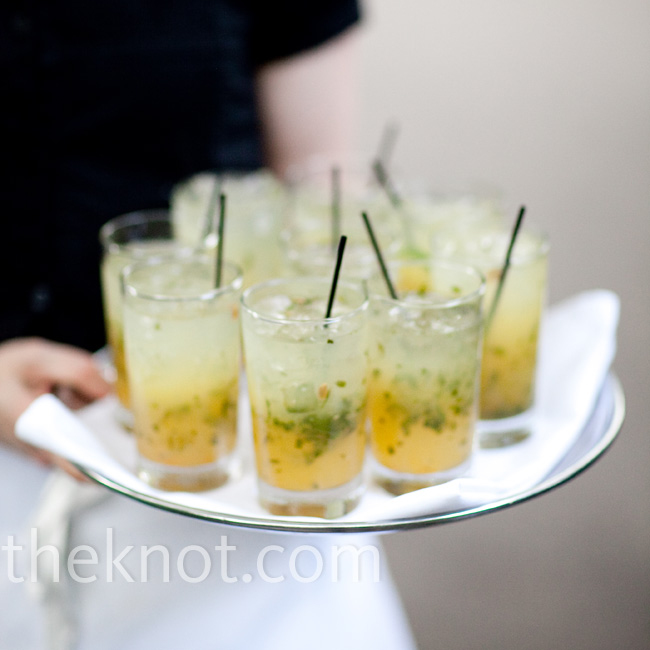 Kumquat mojitos were served at the cocktail hour.
