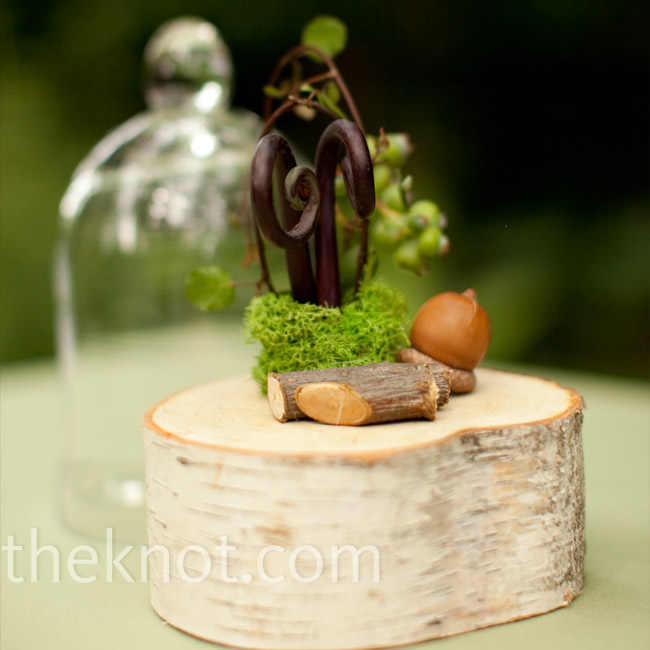 Woodland decor of tree rings, acorns and moss accented the outdoor space.