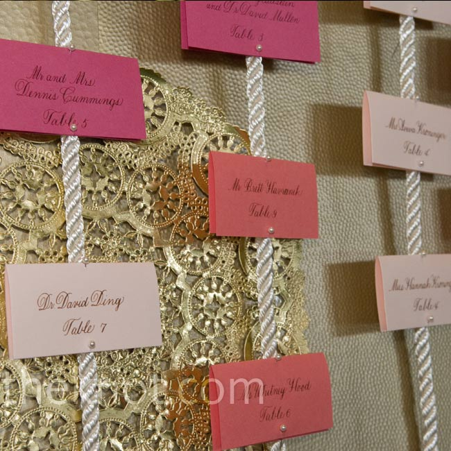 Blush, blossom and papaya escort cards pinned to metallic rope gave a nod to the nautical setting.