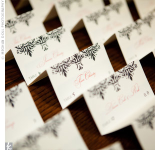 Black and Red Escort Cards