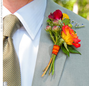Yellow and Red Boutonniere