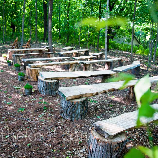 Guests sat on natural, wooden benches as Marin and Jeff exchanged vows in a heavily wooded area near the house.