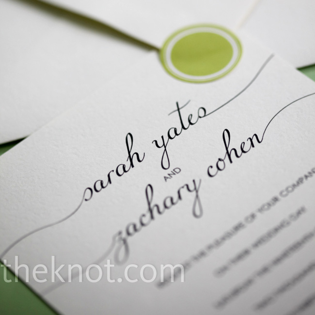 The couple's friends, both designers, made their elegantly printed invitations that matched the color palette.