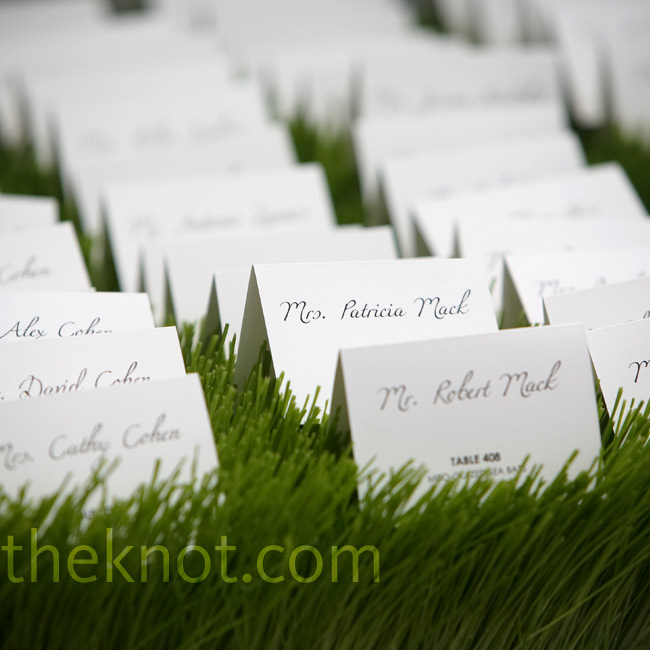 The bride loved the cursive font used on the invitations so much, she asked her friends to repeat the style for the escort cards.