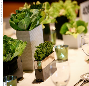 A variety of grasses and kale were used for a modern twist to the centerpieces.