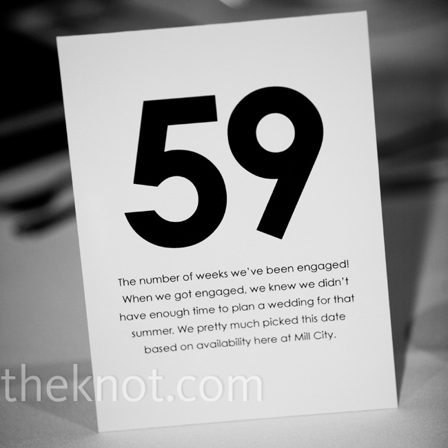"""Each table number was a meaningful number for us,"" says Sarah. The couple tented each number and printed the corresponding stories to the card."
