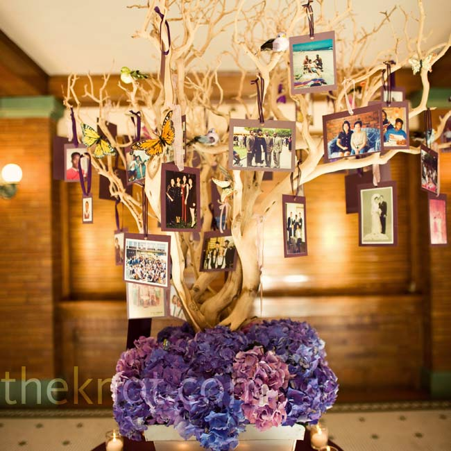 Chin-Chern surprised Stephen with a Manzanita tree decked with pictures of their families.