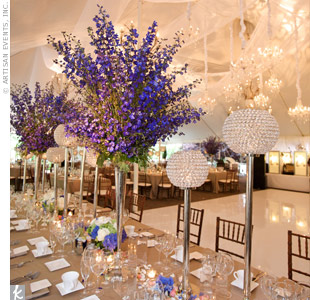 Blue Delphinium Centerpieces