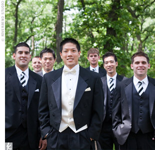 The groomsmen's striped ties matched the décor.