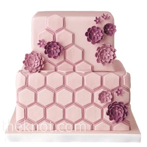 Mod Pink Wedding Cake