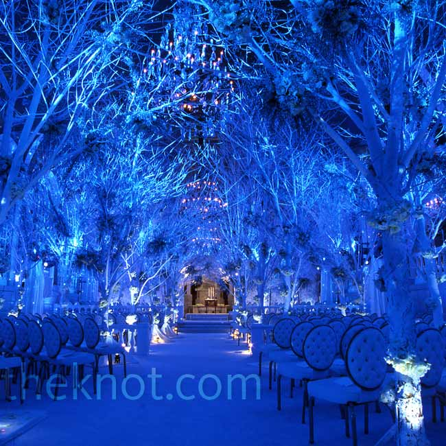 "Celebrity client Melissa Rivers commissioned a ""winter wonderland"" for her New York City wedding, which Preston achieved once again through transplanted trees and dramatic lighting.Photo: John Labbe"