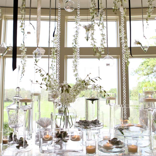 Ribbon Wedding Altar: Ivory And Gray Ribbon, Glass Garland, Candleholders And