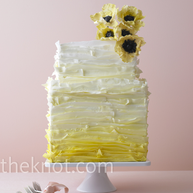 Everything about this cake is delicate -- from the yellow gradient to the soft layers and bright sugar anemones.