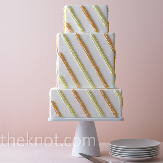 It doesn't get much more contemporary than sugar squares decorated diagonally.