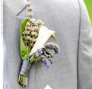 The men wore white calla lilies and sprigs of lavender.