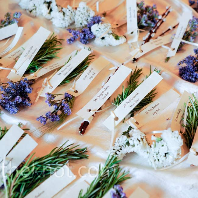 Guests found their seats and flagged their dinner choice with little bundles of lavender, rosemary or thyme.