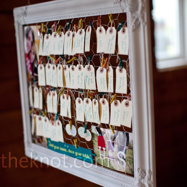 Shipping tags trimmed with a scrapbook edger served as escort cards and hung from a rustic frame lined with chicken wire.