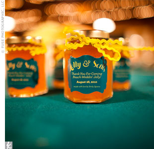 The groom's mother runs a homemade jelly company and whipped up cute jars of peach jelly with personalized labels.