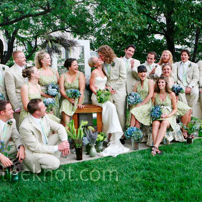 Julia turned to a friend who owns a Chicago dress shop for the bridesmaids' dresses. The ladies wore their favorite style made from green, patterned fabric.