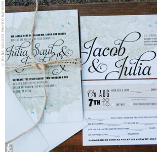 Another friend designed their vintage-style invitations and Mad Lib RSVP card.